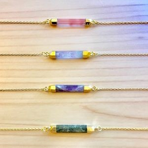 Jewelry - Select Any Gemstone Bar 24k Gold Choker Necklace